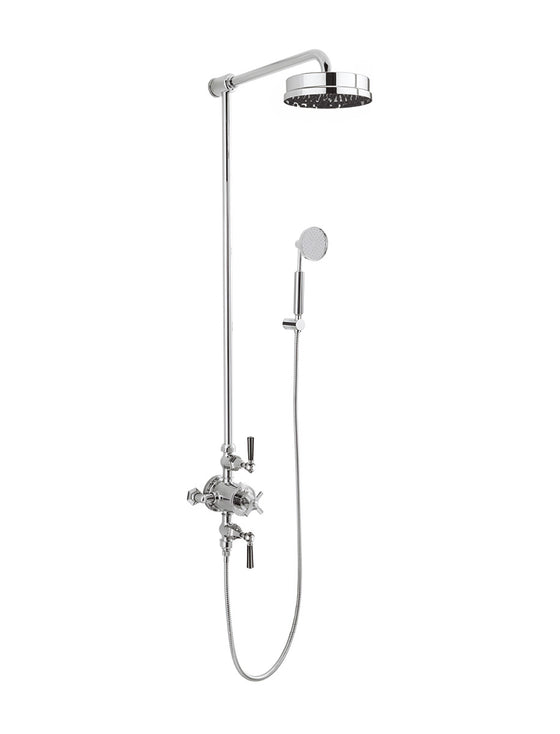 "Waldorf Metal Lever Exposed Thermostatic Shower Set with 8"" Rain Head & Handset on Hook"