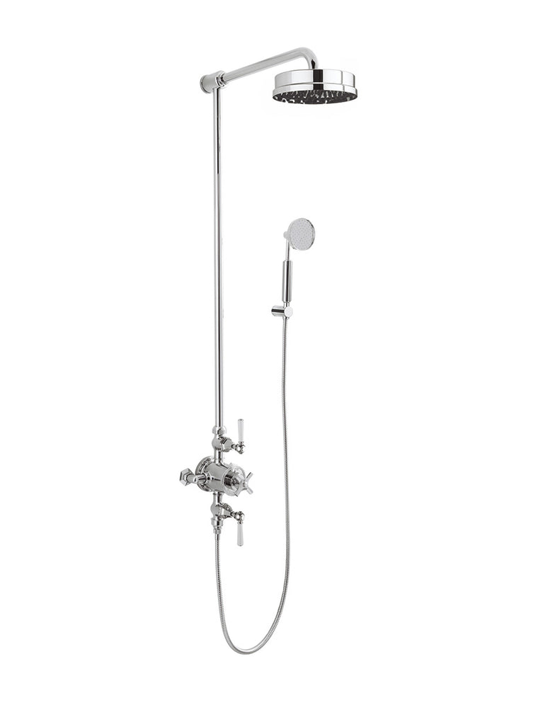 "Waldorf White Lever Exposed Thermostatic Shower Set with 8"" Rain Head & Handset on Hook"