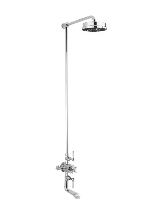 "Waldorf Metal Lever Exposed Thermostatic Shower Set with 8"" Rain Head & Tub Spout"