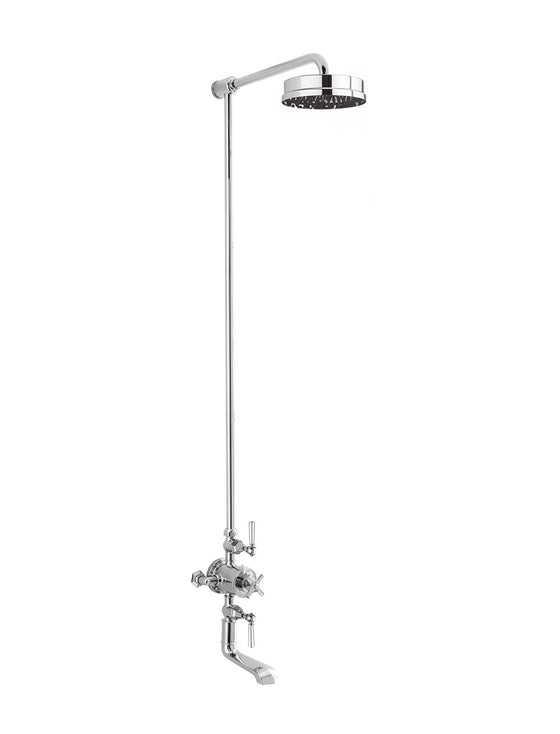 "Waldorf White Lever Exposed Thermostatic Shower Set with 8"" Rain Head & Tub Spout"