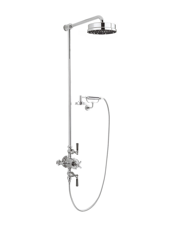 "Waldorf Black Lever Exposed Thermostatic Shower Set with 8"" Rain Head & Handset on Cradle"