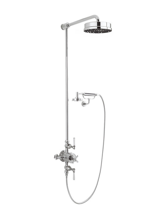 "Waldorf White Lever Exposed Thermostatic Shower Set with 8"" Rain Head & Handset on Cradle"