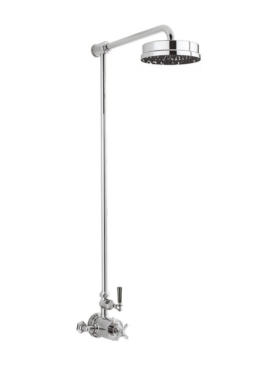 "Waldorf Black Lever Exposed Thermostatic Shower Set with 8"" Rain Head"