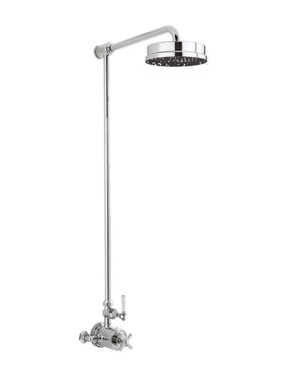 "Waldorf White Lever Exposed Thermostatic Shower Set with 8"" Rain Head"