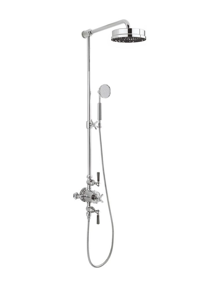 "Waldorf Black Lever Thermostatic Shower Set with 8"" Rain Head & Handset on Slider"
