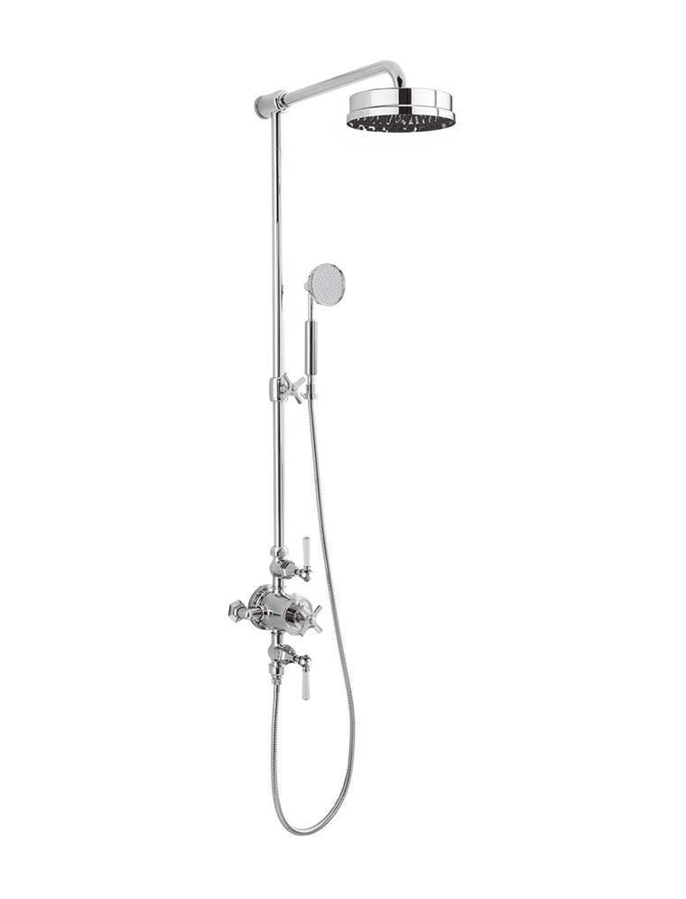 "Waldorf White Lever Thermostatic Shower Set with 8"" Rain Head & Handset on Slider"