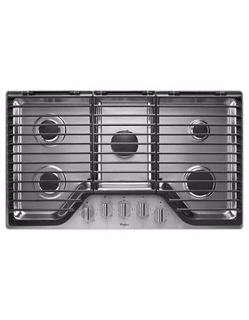 WHIRLPOOL WCG97US6DS 36 inch 5 Burner Gas Cooktop with EZ-2-Lift™ Hinged Cast-Iron Grates