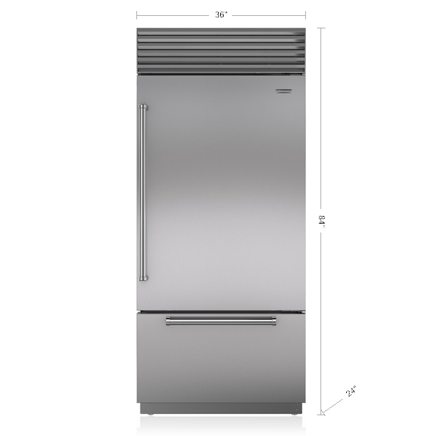 "Sub-Zero BI-36UID/S 36"" Built-In-Over-And-Under Refrigerator / Freezer"