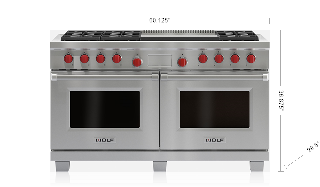"Wolf DF606DG 60"" Dual Fuel Range - 6 Burners and Infrared Dual Griddle"