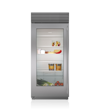 "Sub-Zero 7030227 Built-In 36"" Stainless Steel Dual Flush Inset Door Panel with Tubular Handle - Right Hinge"