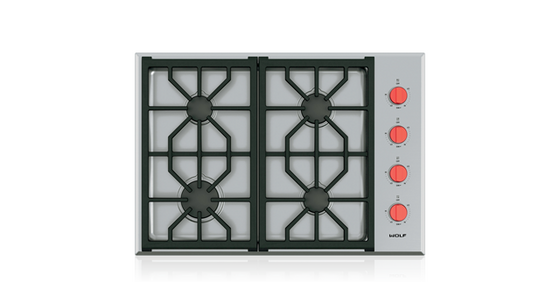 "WOLF CG304P/S 30"" PROFESSIONAL GAS COOKTOP - 4 BURNERS"