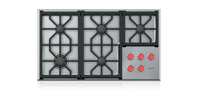 "Wolf CG365P/S 36"" Professional Gas Cooktop - 5 Burners"