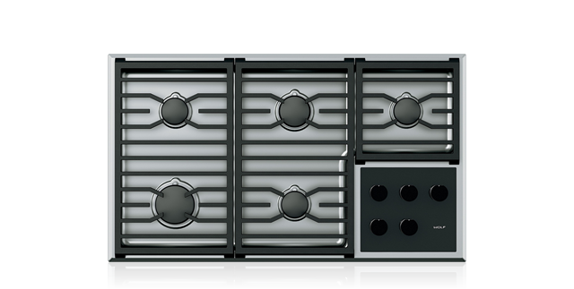 "WOLF CG365T/S 36"" TRANSITIONAL GAS COOKTOP - 5 BURNERS"