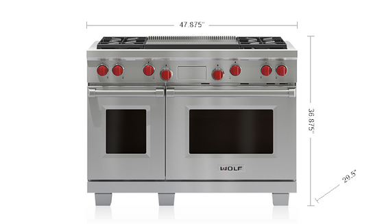 "WOLF DF484DG 48"" DUAL FUEL RANGE - 4 BURNERS AND INFRARED DUAL GRIDDLE"