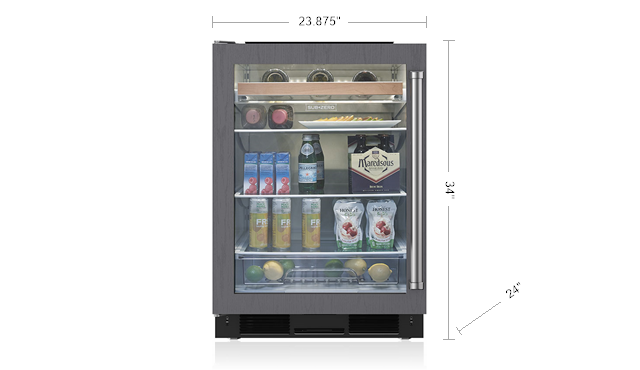 "Sub-Zero UC-24BG/O 24"" Under Counter Beverage Center Panel Ready"