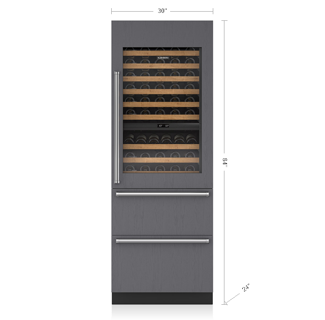"SUB-ZERO IW-30R/LH 30"" INTEGRATED WINE STORAGE WITH REFRIGERATOR DRAWERS - PANEL READY"