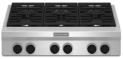 KITCHENAID KGCU467VSS 36-Inch 6 Burner Gas Rangetop, Commercial-Style