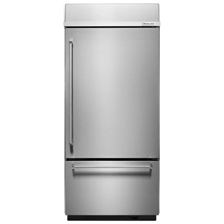 "KITCHENAID KBBR306ESS 20.9 Cu. Ft. 36"" Width Built-In Stainless Bottom Mount Refrigerator"