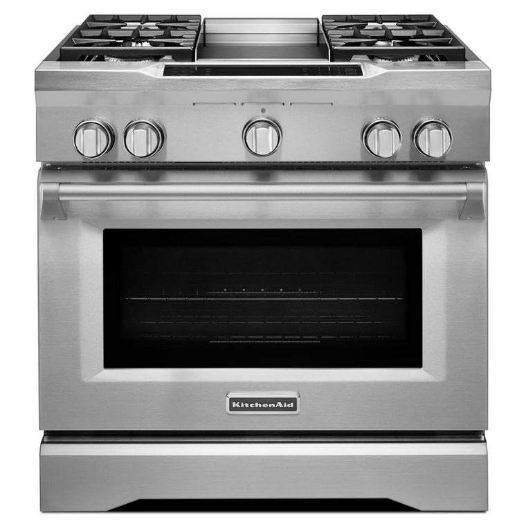 KITCHENAID KDRS463VSS 36'' 4-Burner with Griddle, Dual Fuel Freestanding Range