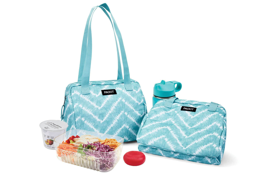 PackIt Freezable Hampton Lunch Bag - Aqua Tie Dye