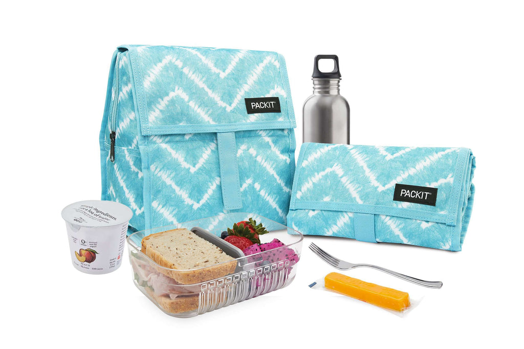 PackIt Freezable Lunch Bag - Aqua Tie Dye - PackIt