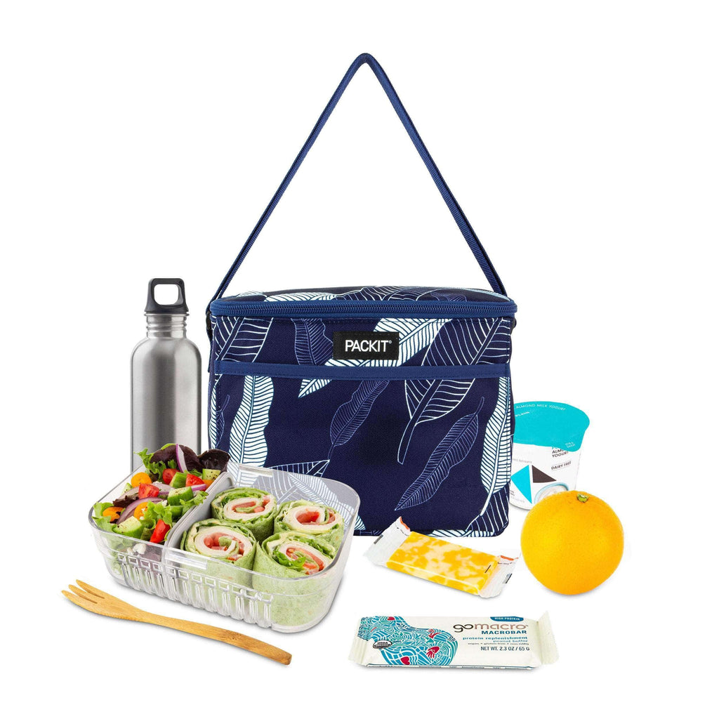 Freezable Everyday Lunch Box - Navy Leaves - PackIt