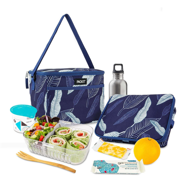 Freezable Everyday Lunch Box - Navy Leaves
