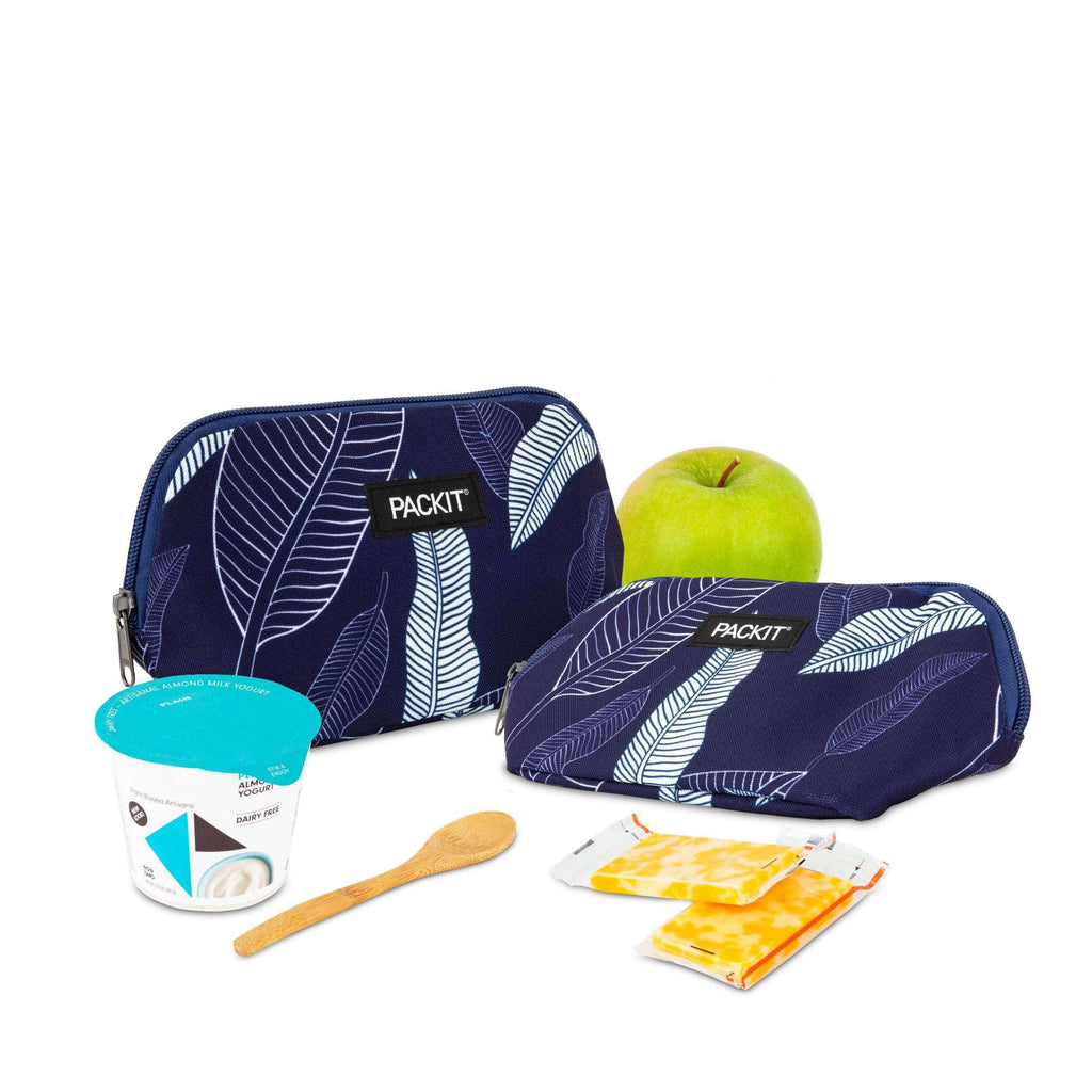 Freezable Snack Bag - Navy Leaves