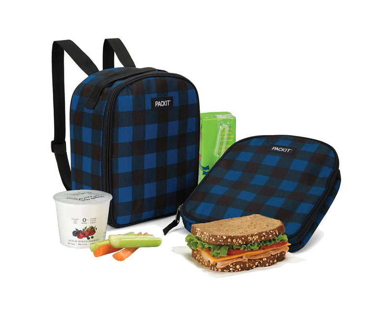 PackIt Freezable Kids Lunch Backpack - Navy Buffalo