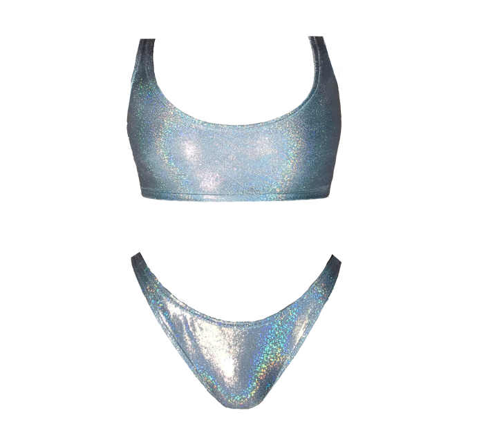 Blue Glitter Holographic Swim Set