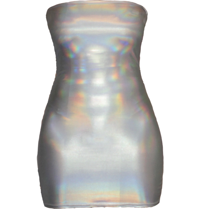 Silver Holographic Tube Dress