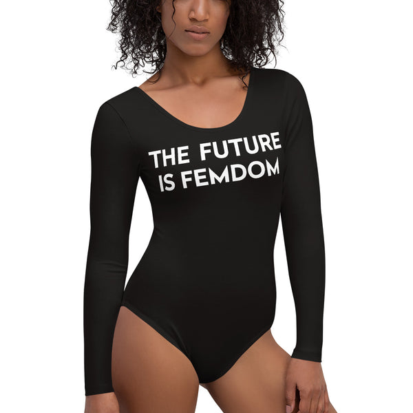 The Future is Femdom Long Sleeve Black Bodysuit