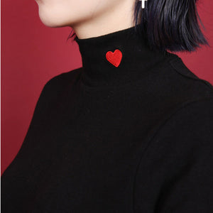 'Heart' Turtleneck Pullover