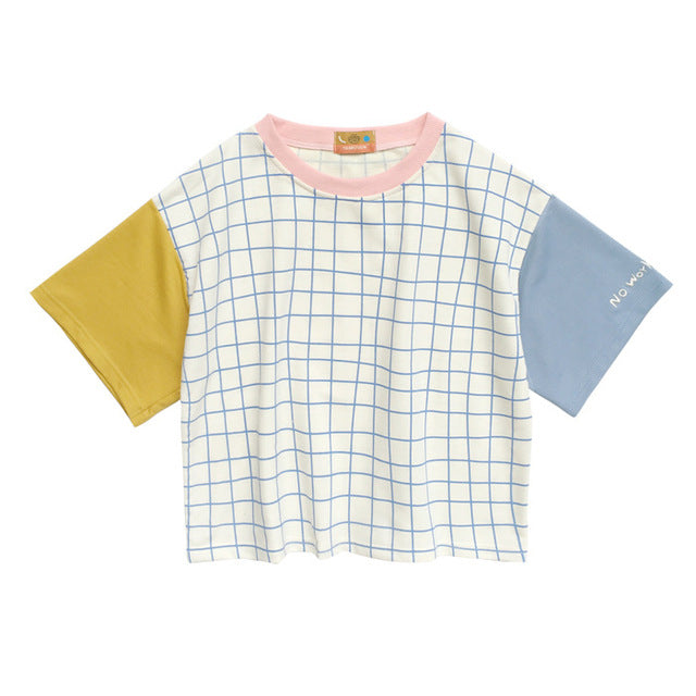 Pastel Gridded T-Shirt