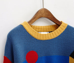 Retro Pattern Blocked Pullover