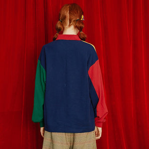 Colorblock Cartoon Pullover