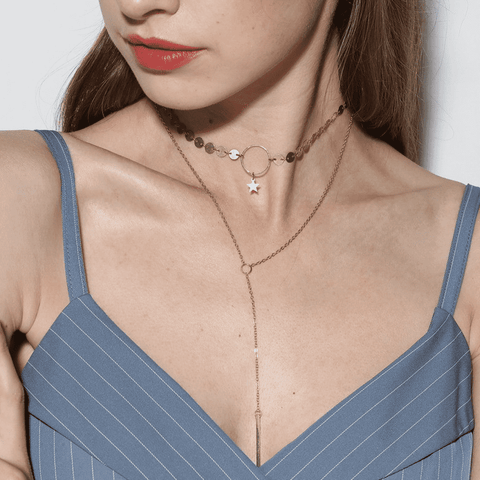 Metal Bar Star Maxi Pendant Necklace