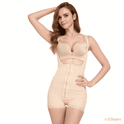 Slimming Solid Shapewear with Front Zipper