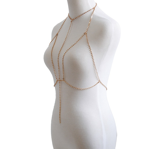 Punk Gold Crystal Body Chain