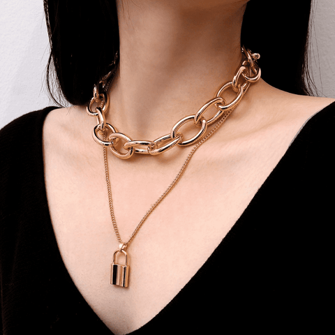 Vintage Metal Lock Chokers Necklaces