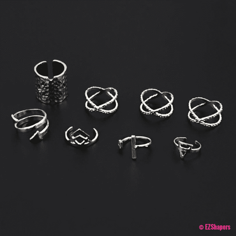 Image of Cross Hollow Arrow Finger Ring Set