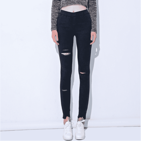 Image of Ripped Pencil Denim Jeggins