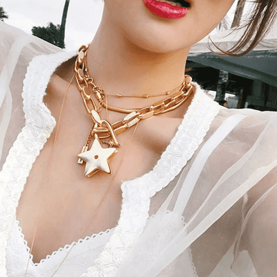 Vintage Metal Stars Necklaces