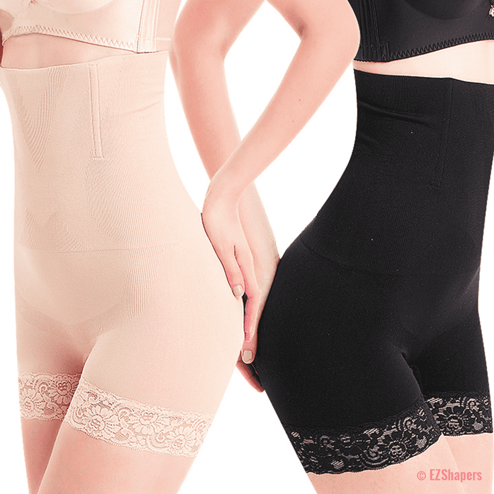 Seamless High Waist Panty Shaper with Lace Detail
