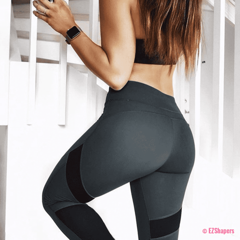 Image of Fitness Geometric Patchwork Leggings