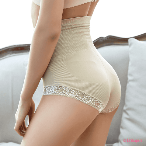 Image of High Waist Care Control Panty with Lace Detail