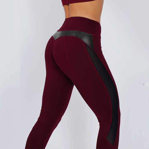 Image of Fitness Leather Mesh Leggings