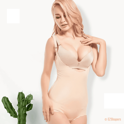 Image of Beige Solid Bodysuit