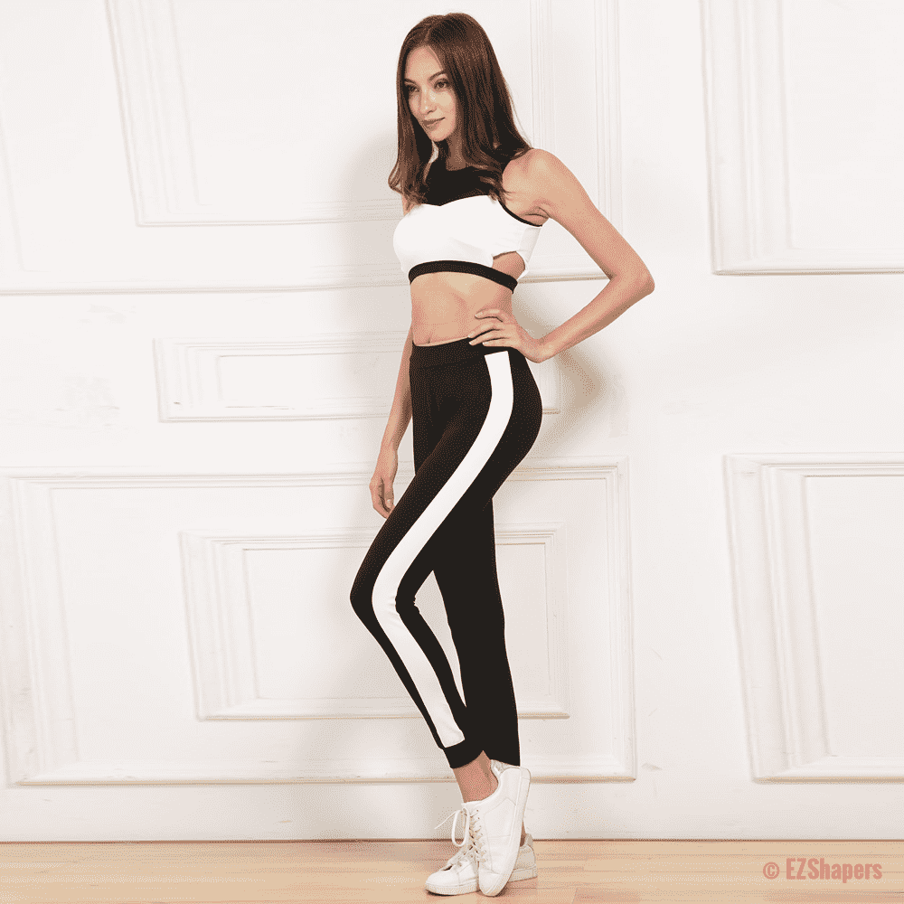 Side Stripe Black Leggings
