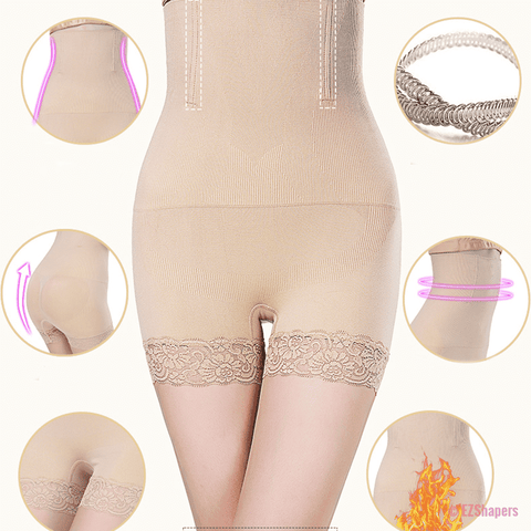 Image of Seamless High Waist Panty Shaper with Lace Detail